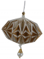 Preview: Casalanas Christmas tree decoration, golden star ball with decorative bead, 5,5x8,5 cm, gold-white, item no. 3283
