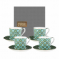Preview: Images d'Orient coffee mug set with 4 mugs, saucers and gift box, Andalusia, 210 ml, green with gold, item no. POR323221