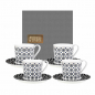 Preview: Images d'Orient coffee mug set with 4 mugs, saucers and gift box, Kaokab, 210 ml, blue black white, item no. POR343221