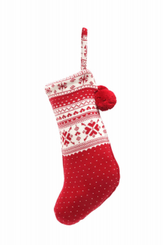 Casalanas Christmas sock, Kerstmis, 46x26 cm, 100% cotton, with loop for hanging up, item no. 1609
