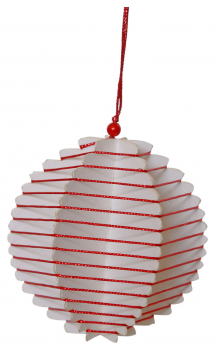 Casalanas Christmas tree decoration, red 3D ball, 8x8 cm, red-white, item no. 3368