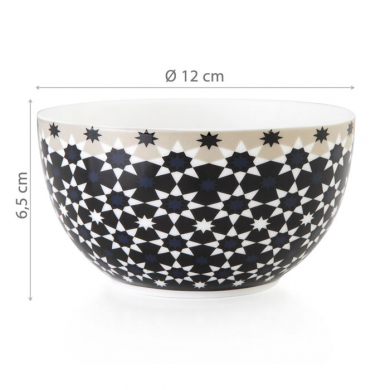 Images d'Orient mug with bowl in a set with gift box, Kaokab, 250 ml + Ø 12 cm, blue black white, item no. POR232032