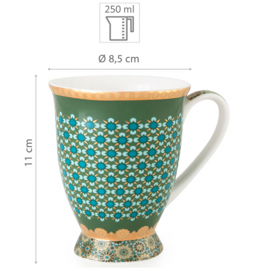 Images d'Orient mug with bowl in a set with gift box, Andalusia, 250 ml + Ø 12 cm, green with gold, item no. POR232022