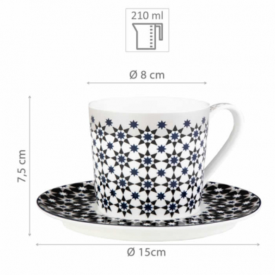Images d'Orient coffee mug set with 4 mugs, saucers and gift box, Kaokab, 210 ml, blue black white, item no. POR343221
