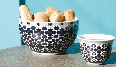 Images d'Orient bowl set with 2 bowls and gift box, Kaokab, Ø 15 cm, blue black white, item no. POR151002