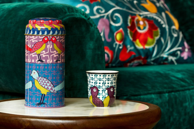 Images d'Orient mug with bowl in a set with gift box, Birds of Paradise, 250 ml + Ø 12 cm, colourful, item no. POR232052