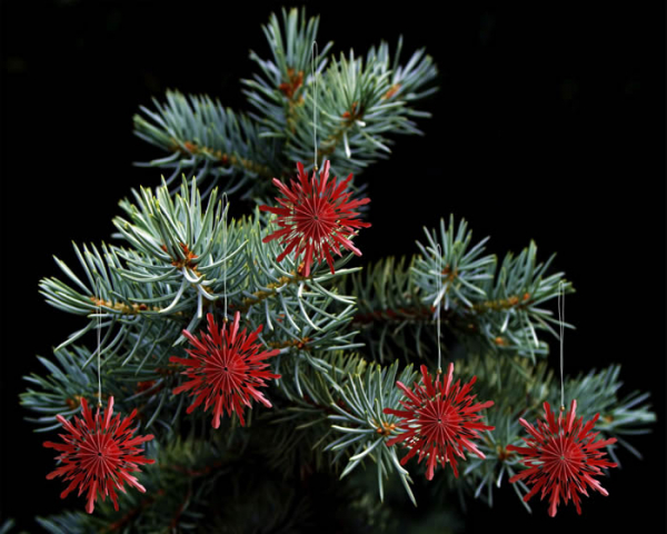 Casalanas Christmas tree decoration, red snowflake, 10x10 cm, red-white, item no. 3337