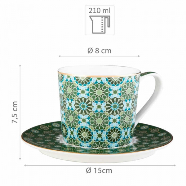 Images d'Orient coffee mug set with 4 mugs, saucers and gift box, Andalusia, 210 ml, green with gold, item no. POR323221