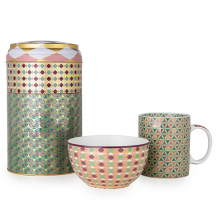 Images d'Orient mug with bowl in a set with gift box, Opera, 250 ml + Ø 12 cm, colourful, item no. POR232082